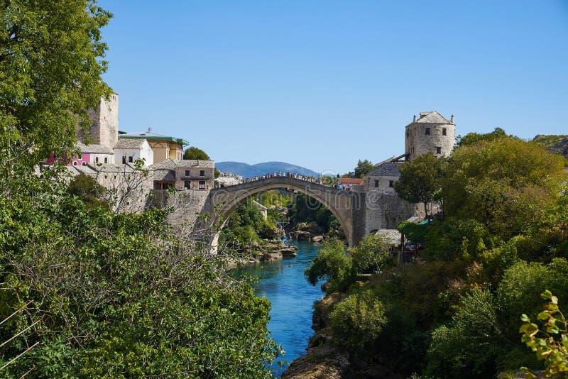 Stari la mayoría del puente viejo de Mostar, Bosnia fotografía de archivo libre de regalías