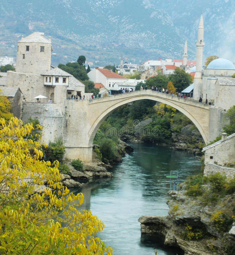Stari Most bridge, Mostar. Stari Most bridge in Mostar, Bosnia and Herzegovina. Stari Most is a reconstruction of a 16th-century Ottoman bridge that crosses the royalty free stock photo
