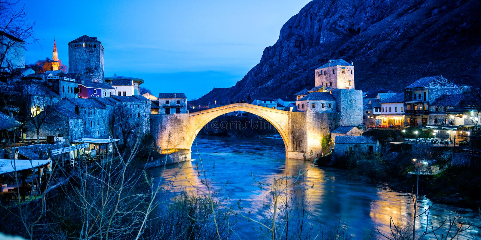 Stari Most - Iconic bridge in Bosnia. Mostar is situated on the Neretva River and is the fifth-largest city in the country. Mostar was named after the bridge royalty free stock photography