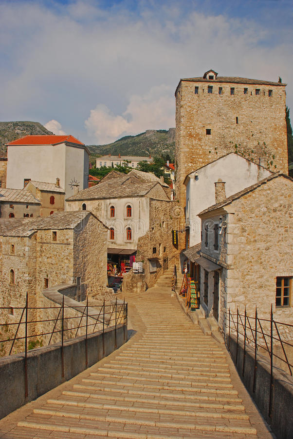 On the Stari Most at Mostar in Bosnia. The Slippery Marble Made Steps on the Stari Most at Mostar in Bosnia stock photos