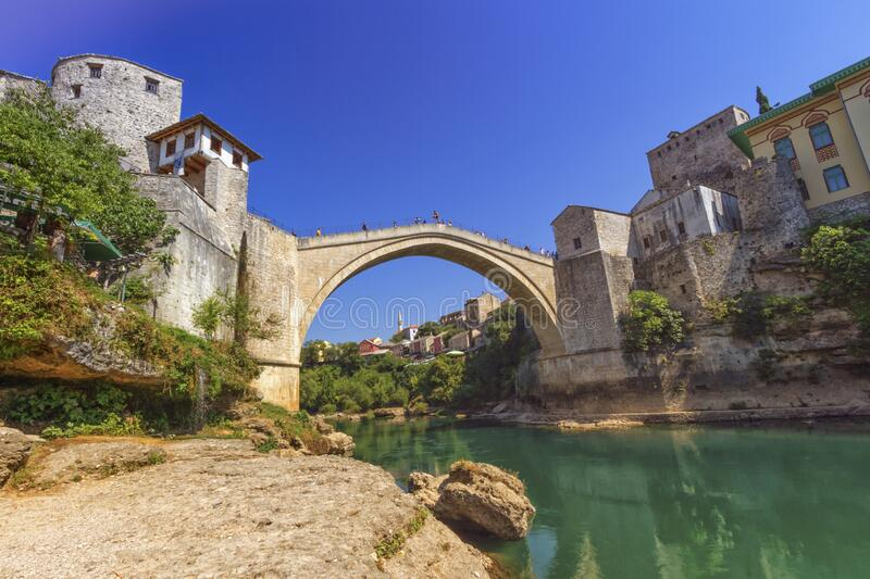 Stari Most, old bridge, Mostar, Bosnia and Herzegovina stock photography