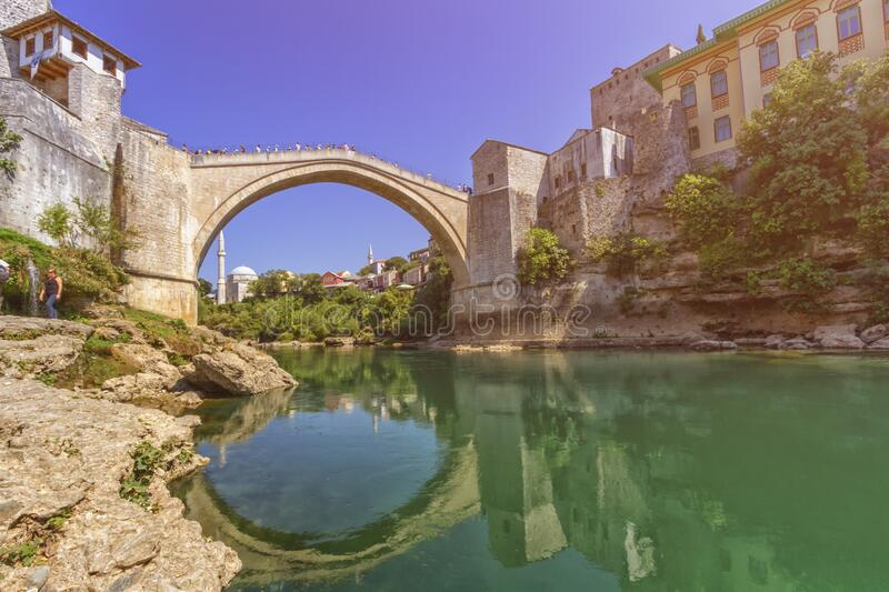 Stari Most, old bridge, Mostar, Bosnia and Herzegovina royalty free stock photography