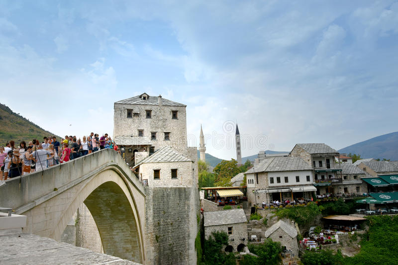 Stari Most, the old bridge in Mostar stock images