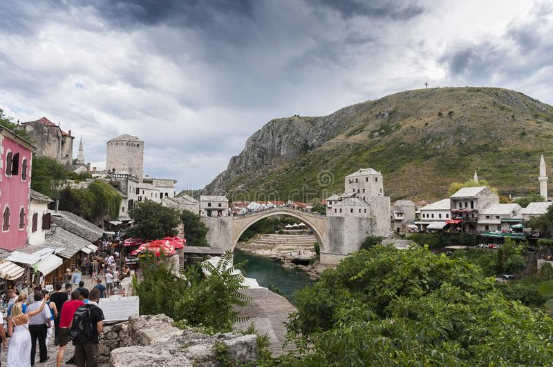 Stari Most `old bridge` in Mostar royalty free stock images
