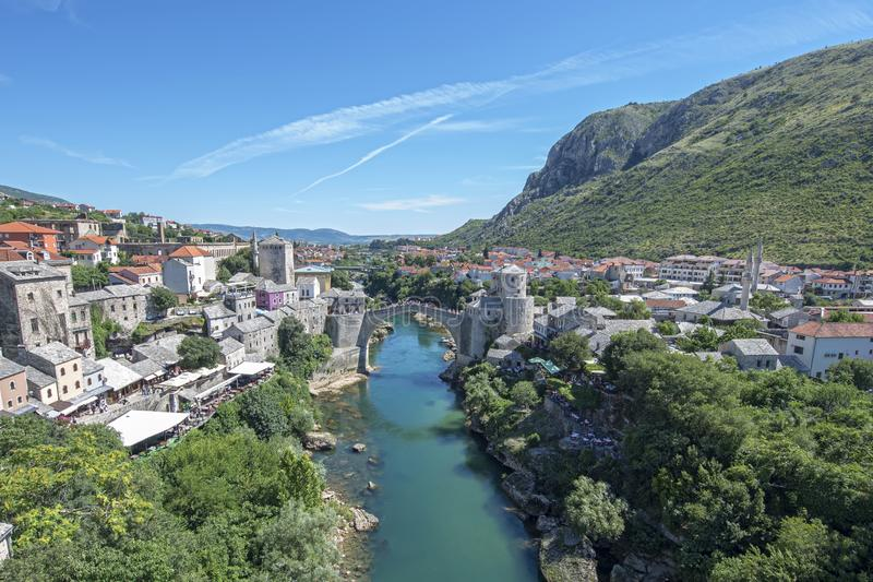Stari Most is a rebuilt 16th-century Ottoman bridge in the city of Mostar in Bosnia and Herzegovina The original stood for 427 royalty free stock photo