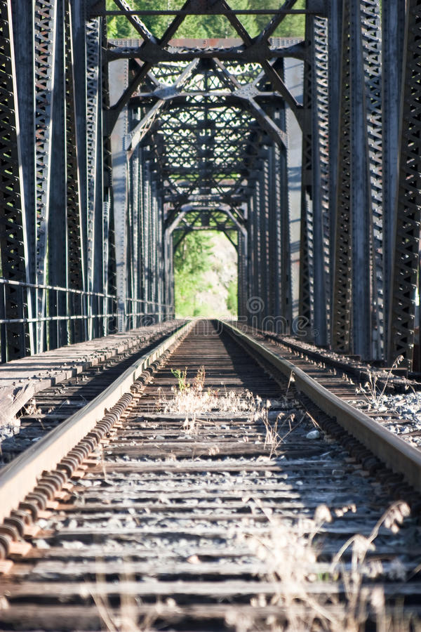 Staring down railroad tracks royalty free stock photos