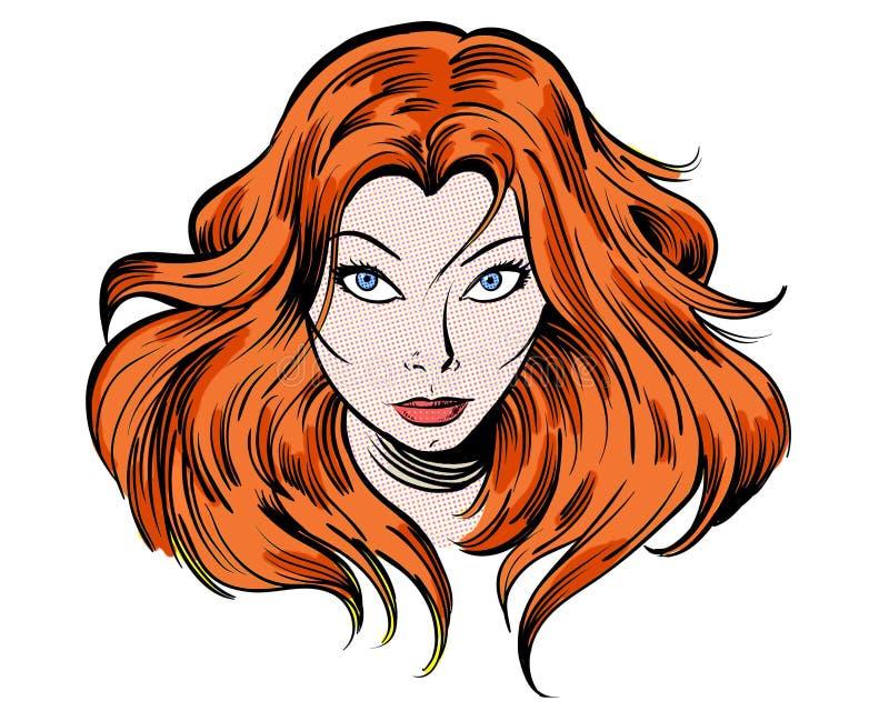 Red Headed Cartoon Characters Female S : Staring redhead cartoon girl illustration character stock