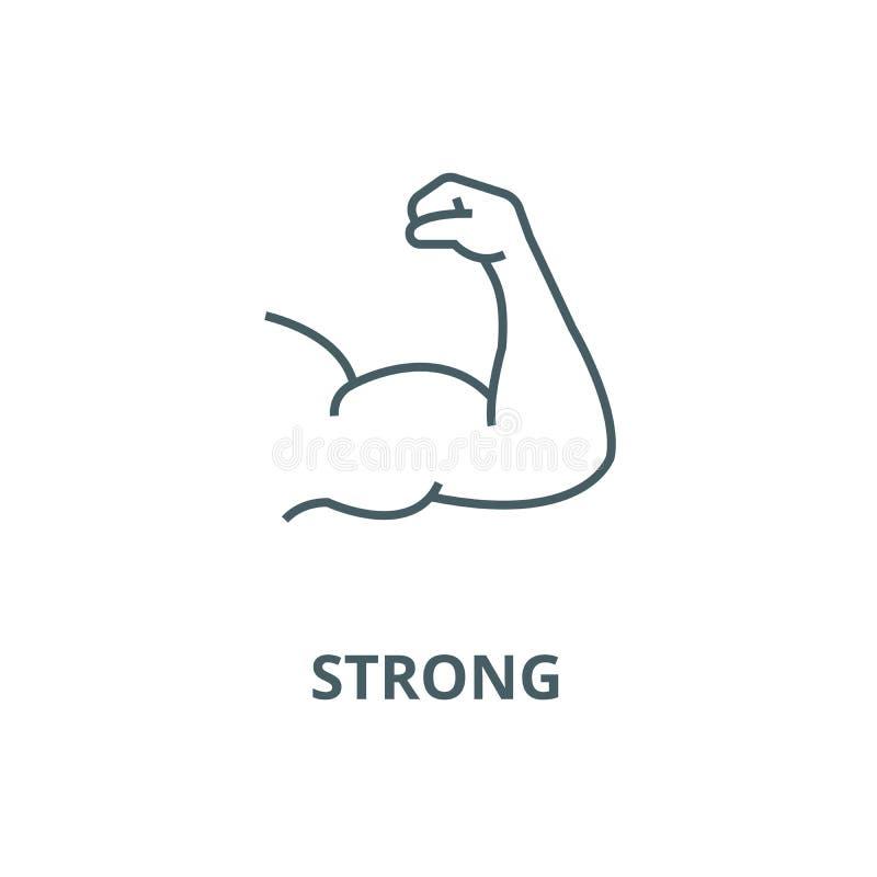 Stark arm, bodybuildingvektorlinje symbol, linjärt begrepp, översiktstecken, symbol vektor illustrationer