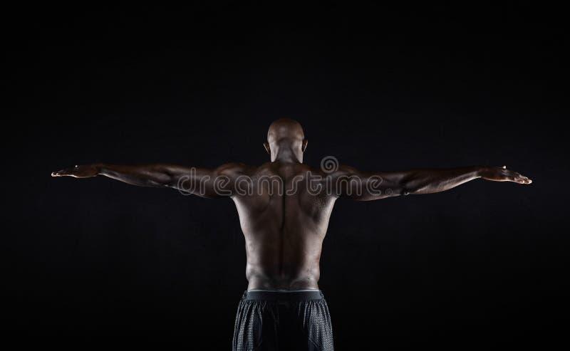 Stark baksida av en svart muskulös man royaltyfria bilder