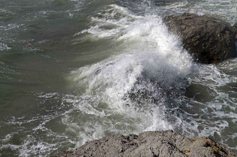 Stark bränning som bryter på kust- klippor crimea fotografering för bildbyråer