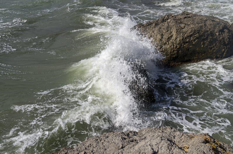 Stark bränning som bryter på kust- klippor crimea arkivbilder