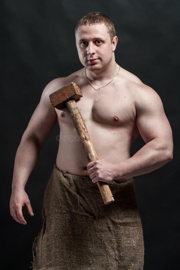 Stark brutal man royaltyfria foton
