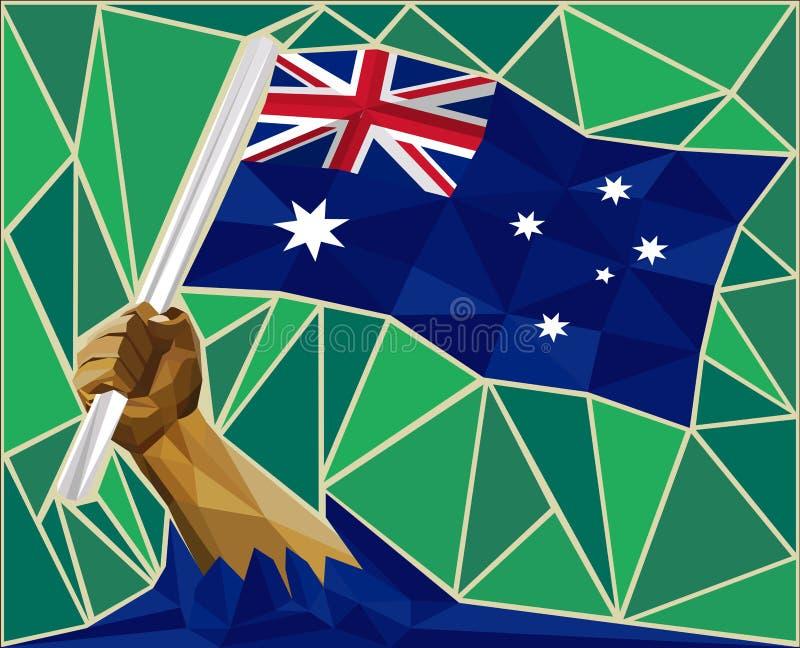 Stark hand som lyfter flaggan av Australien stock illustrationer