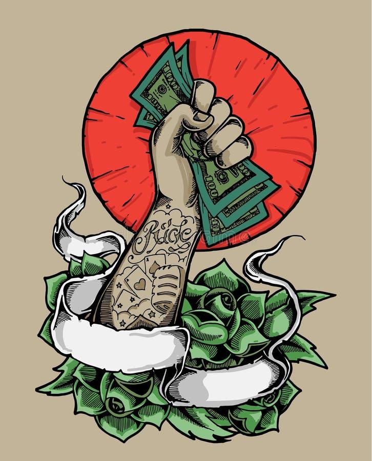 Stark hand som rymmer pengarillustrationen royaltyfri illustrationer