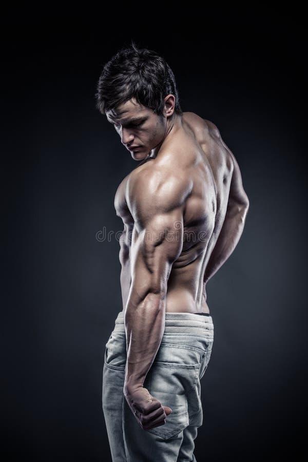 Stark idrotts- mankonditionmodell som poserar tillbaka muskler och triceps royaltyfri foto