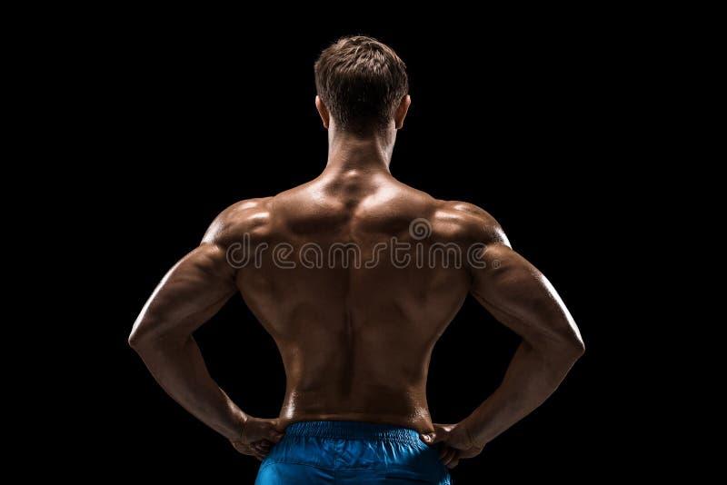 Stark idrotts- mankonditionmodell som poserar tillbaka muskler, triceps över svart bakgrund arkivfoton