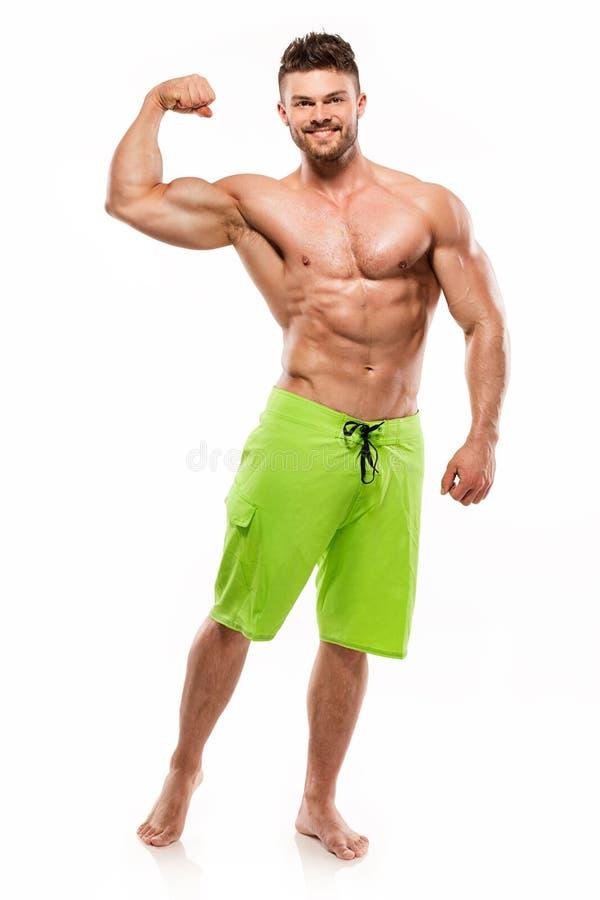 Stark idrotts- mankonditionmodell Torso som visar stora muskler royaltyfri foto