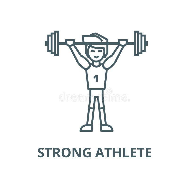 Stark idrottsman nen med viktvektorlinjen symbol, linjärt begrepp, översiktstecken, symbol stock illustrationer