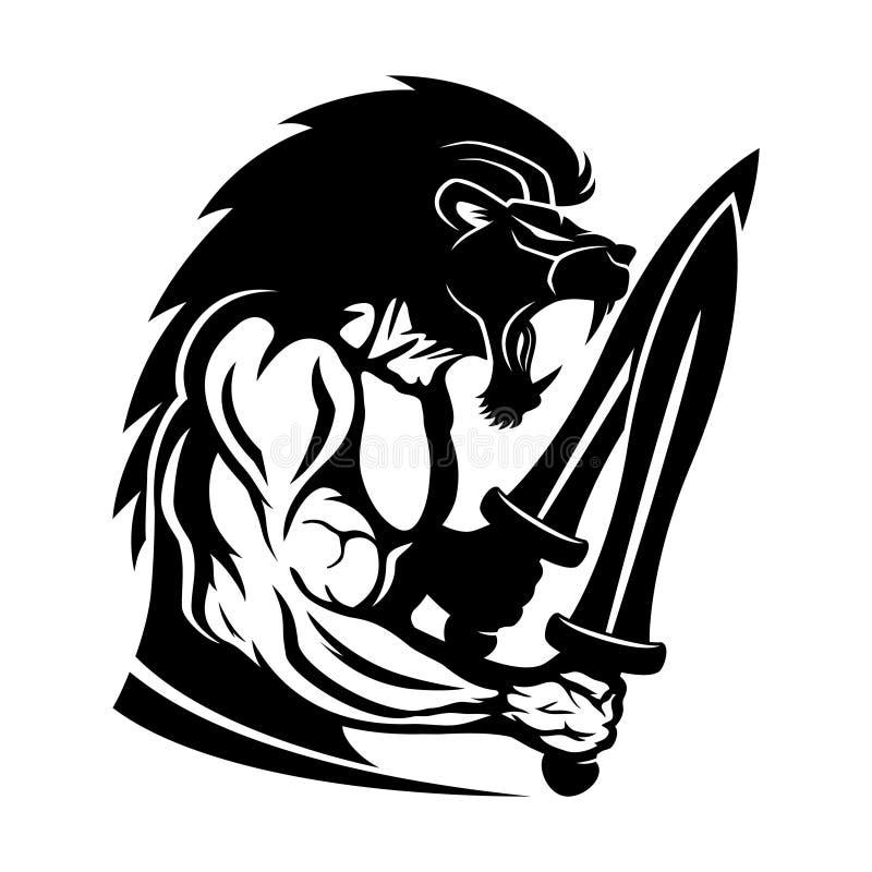 Stark krigare med ett lejonhuvud royaltyfri illustrationer