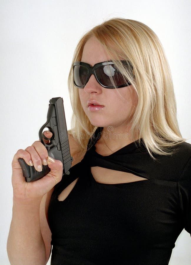 stark kvinna för svart tryckspruta arkivfoton