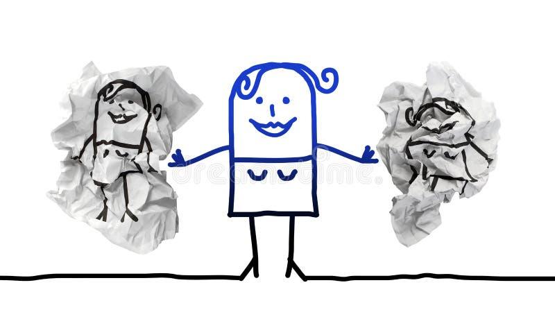 Stark kvinna för tecknad film som sätter bort pappers- klimpar med andra flickor vektor illustrationer