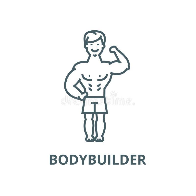 Stark man, linje symbol, linjärt begrepp, översiktstecken, symbol för kroppsbyggaremuskelvektor vektor illustrationer