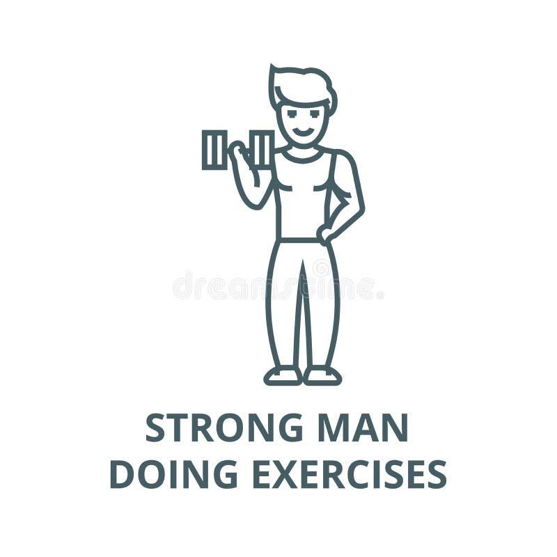 Stark man som gör övningsvektorlinjen symbol, linjärt begrepp, översiktstecken, symbol stock illustrationer