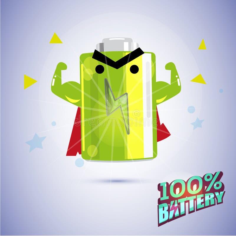 Stark muskel för full batteriteckenshow Ladda fullständigt batteriet stock illustrationer