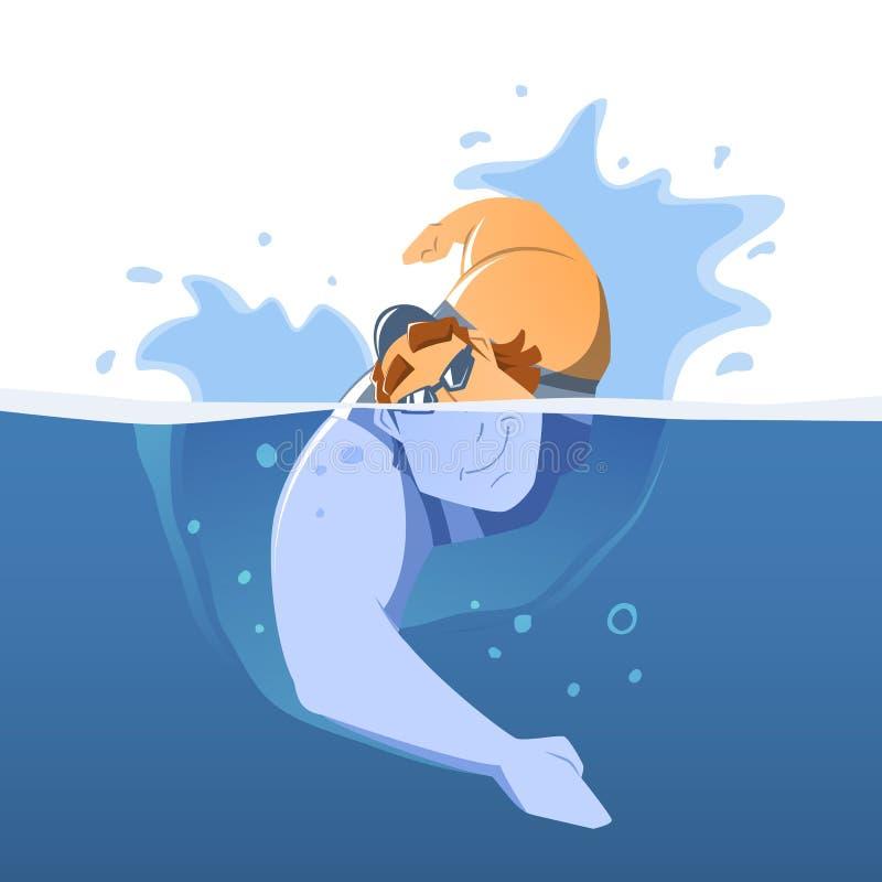 Stark muskulös simmare för ung man i simbassäng stock illustrationer