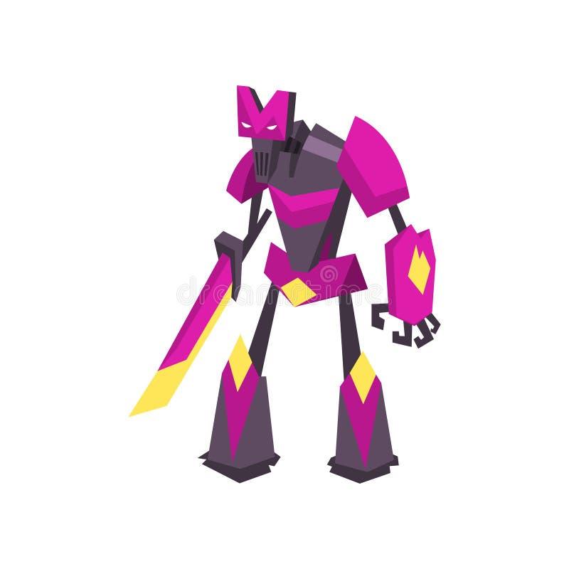 Stark robottransformator i ljus lilafärg Kraftig metallkrigare med svärdet Plan vektordesign för videospel royaltyfri illustrationer