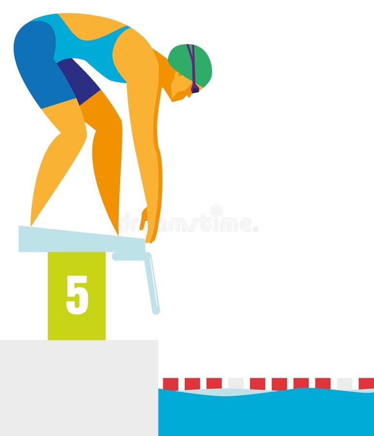 Stark simmare för ung kvinna som förbereder sig att starta på hans avstånd royaltyfri illustrationer