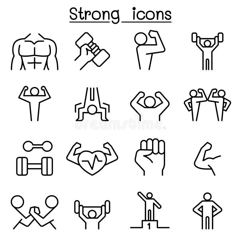 Stark symbolsuppsättning i den tunna linjen stil stock illustrationer