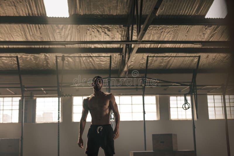 Stark ung man med den muskulösa kroppen i idrottshall arkivbild
