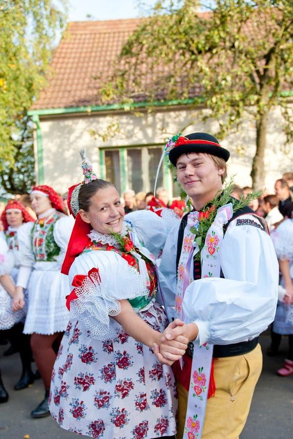 Starka dance in folk costume stock photography