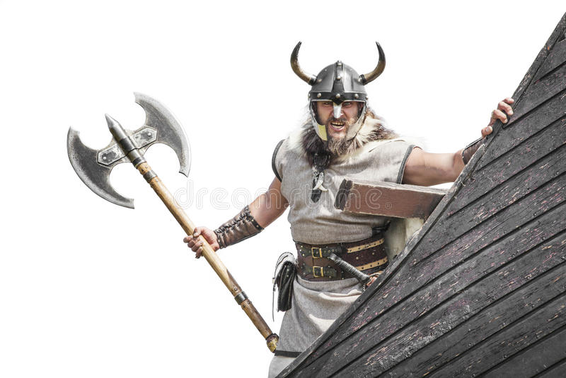 Starka Viking på hans skepp royaltyfri bild