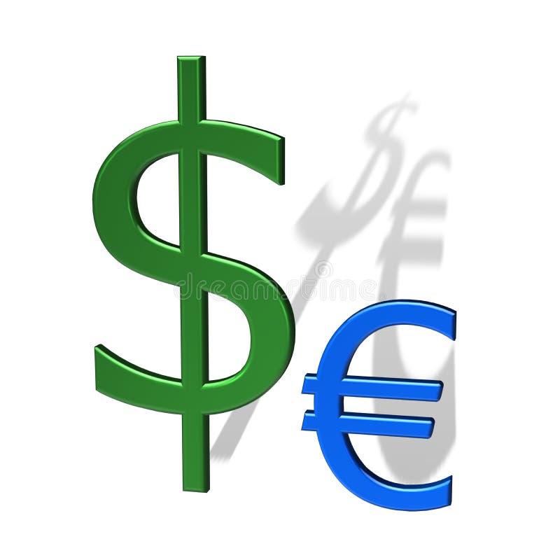 starkare dollareuro än royaltyfri illustrationer