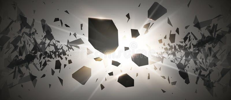 Starke Explosion Schwarzpartikel auf dunklem Hintergrund Explosionswolke von schwarzen Stücken mit Glühen beleuchtet Vektor stock abbildung