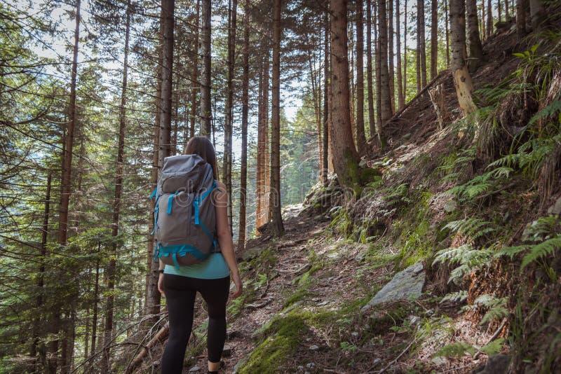 Starke Frau, die in den Bergen wandert stockfotos