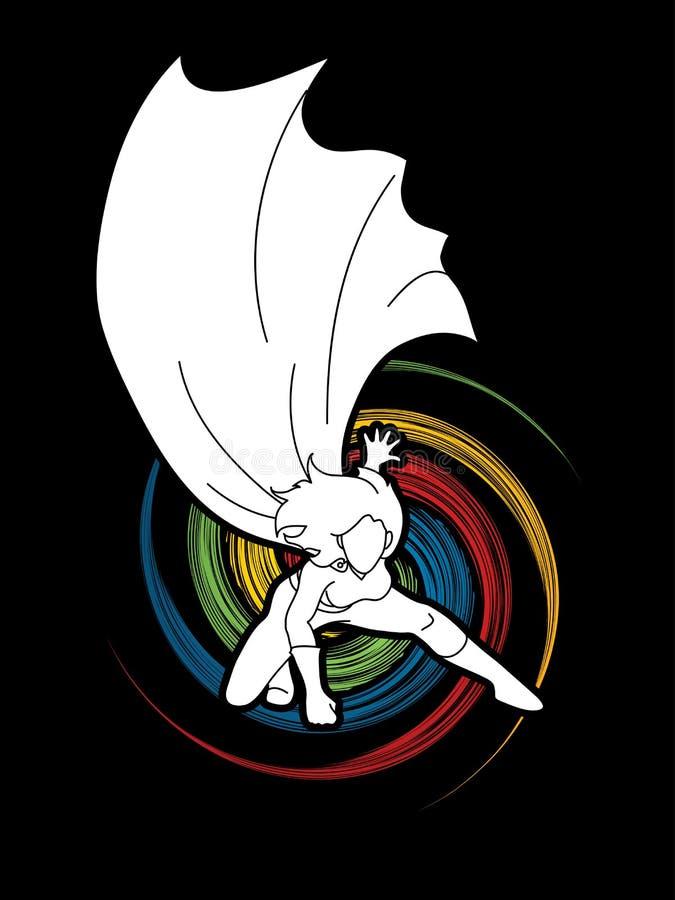 Starke Frau Superheld, der starke Aktion landet stock abbildung