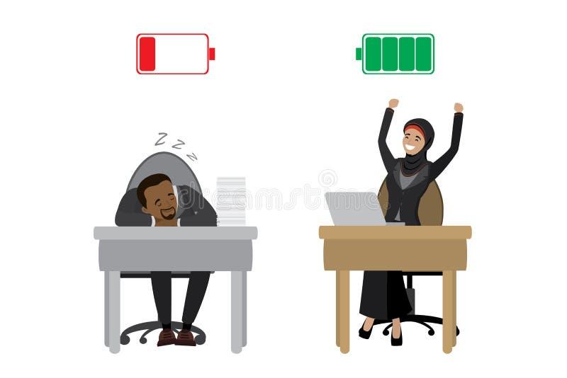 Starke glückliche arabische Geschäftsfrau und müder Afroamerikanergeschäftsmann, grüne aufgeladene und rote entladene Batterie, a lizenzfreie abbildung