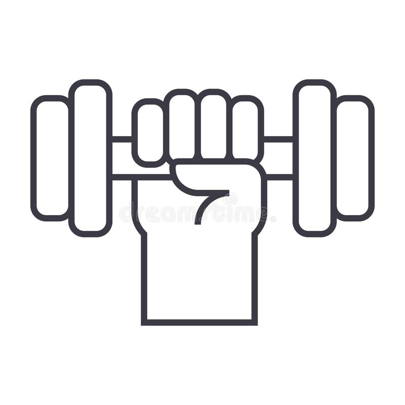 Starke Hand mit Dummkopfvektorlinie Ikone, Zeichen, Illustration auf Hintergrund, editable Anschläge vektor abbildung