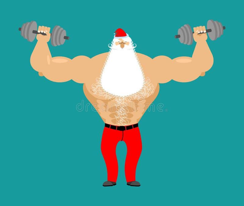 Starke Santa Claus mit Dummkopf Lokalisiert auf weißem Hintergrund Bodybuilder Chris vektor abbildung