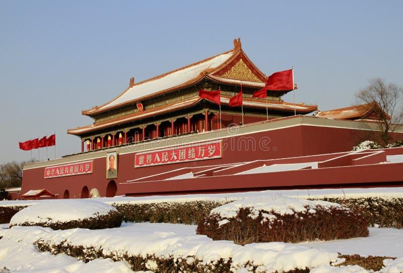 Starke Schneefälle schlagen Peking lizenzfreies stockfoto
