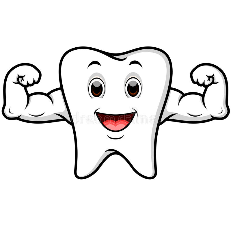 Starke Zahnkarikatur lizenzfreie abbildung