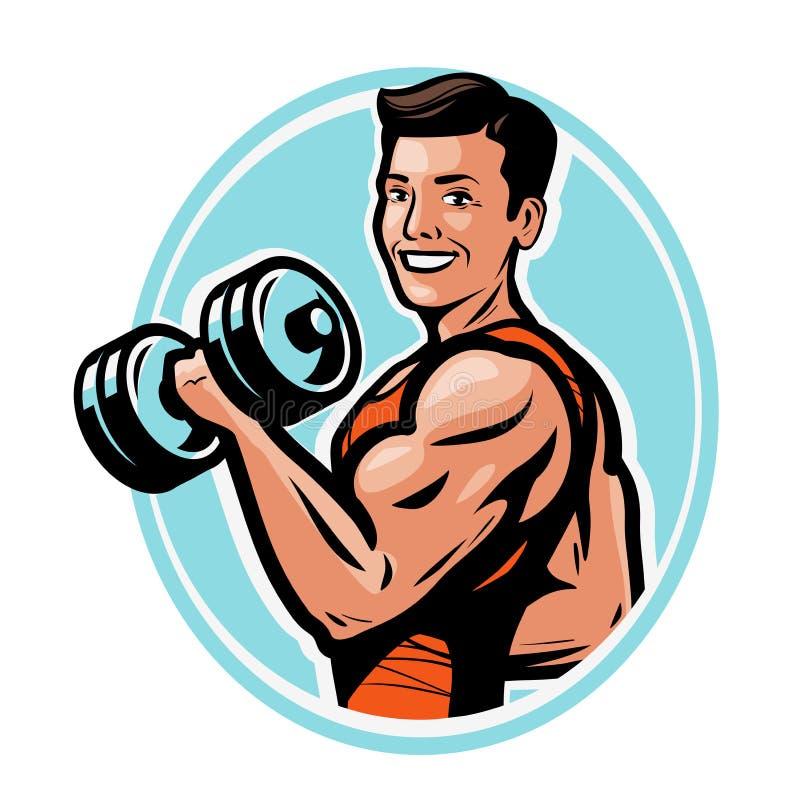 Starker athletischer Mann hebt schwere Dummköpfe mit seinen Händen an Turnhalle, bodybuildendes Konzept Auch im corel abgehobenen stock abbildung