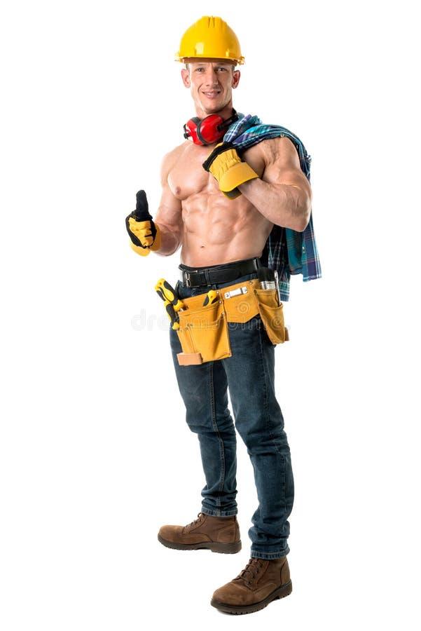 Starker Bauarbeiter stockfoto