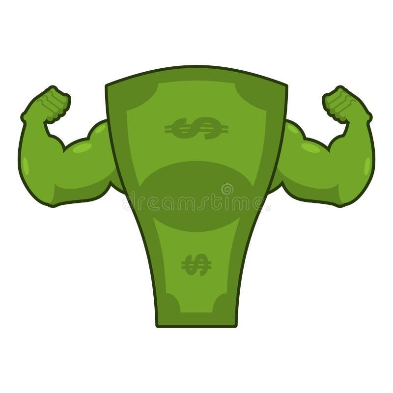 Starker Dollar Starkes Bargeld Starkes Geld mit den großen Muskeln han stock abbildung