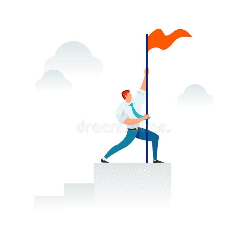 Starker Geschäftsmann, der eine rote Fahne auf das Spaltendiagramm hält Geschäftskonzept der Führung, Erfolg, Sieg, Ziel stockbild