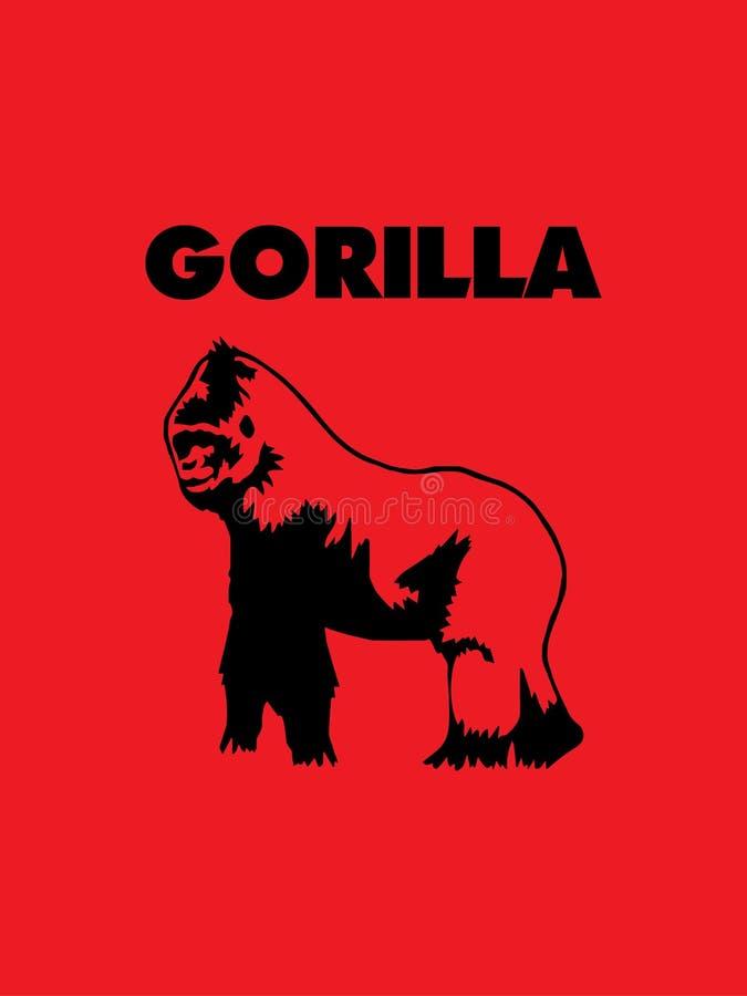 Starker Gorillalogovektor ENV 10 Getrennt auf rotem Hintergrund lizenzfreie abbildung