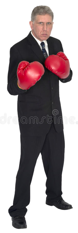 Starker Guy Businessman Boxing Gloves lizenzfreie stockfotos